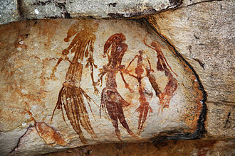 Timeline of human prehistory - Bradshaw rock paintings found in the north-west Kimberley region of Western Australia