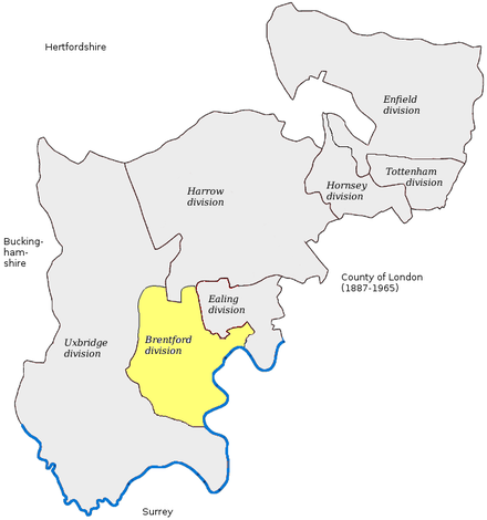 Map of the seven single-MP county constituencies created by subdivision of the final version of the seat which existed between 1867 and 1885 and returned two MPs. Brentford division is highlighted which was named after the town where the hustings took place after 1700. Brentford1885.png