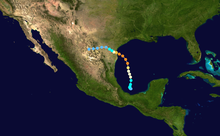 A map of a path across the eastern Gulf of Mexico into Texas. The Pacific Ocean can be seen on the left of the image, most of Central America is visible at the bottom and most of Cuba is shown on the right.