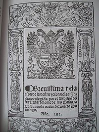 Printed cover of the book Brevísima relación de la destrucción de las Indias