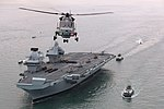Britain's future flagship HMS Queen Elizabeth sailed into her home port of Portsmouth for the first time today. MOD 45162893.jpg
