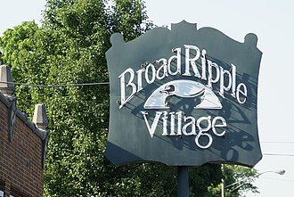 Indianapolis Cultural Districts - Broad Ripple sign on North College Avenue.