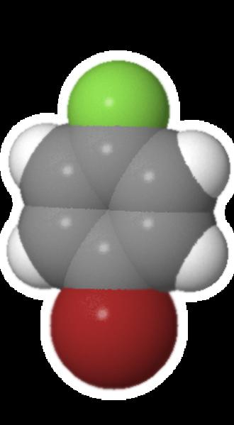 4-Bromofluorobenzene - Image: Bromofluorobenzene space filling re edit