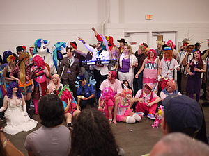 My Little Pony: Friendship Is Magic fandom - Cosplayers of numerous characters from My Little Pony: Friendship Is Magic, at the 2012 Summer BronyCon
