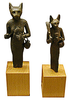 Bronze figures of Bastet, Late period.jpg