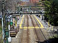 Brookline Village station from Harvard Street bridge, April 2016.JPG