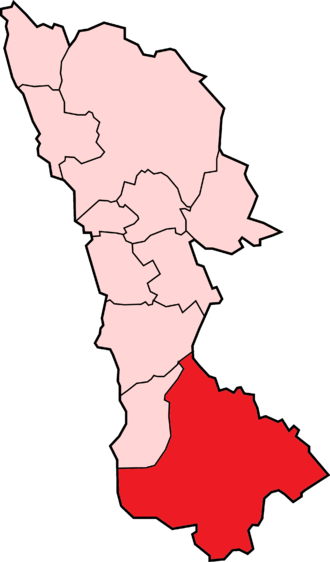 Broxtowe - The borough with the civil parishes (pink) and the unparished part (red).