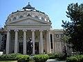 Bucuresti, Romania. Atheneul Roman si statuia lui Mihai Eminescu. Fatada (Cladire de patrimoniu). Arhitect Paul Louis Albert Galleron.jpg