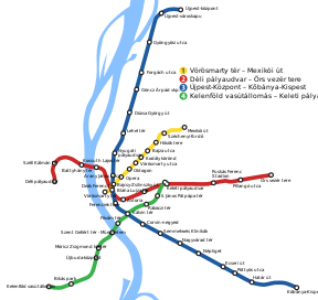 Budapest Metro Geographical Map.SVG