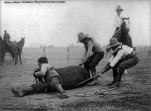 "Cheyenne Frontier Days - ""Buffalo"" Vernon (left) bulldogging a steer, 1910"