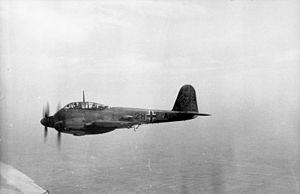 Messerschmitt Me 210 - A Luftwaffe Me 210 A-1 of the Versuchsstaffel 210 test squadron, over France in 1942