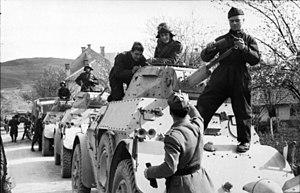 World War II in Yugoslavia - Italian armored cars in the Balkans.