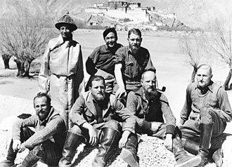 Bruno Beger - Beger (right) with the Tibet expedition and their Sikkimese interpreters, Kaiser Bahadur Thapa and Rabden Khazi, in 1938.