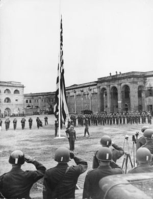 United States Army Central - American flag over Festung Ehrenbreitstein after the occupation of Koblenz by the 3rd Army, 1945