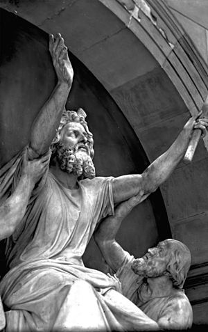 "Church of Peace (Sanssouci) - Moses in prayer for his people for help against the Amalekites, supported by the high priests Aaron and Hur"" (outside the picture)"