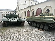 T-72 tanks and BMP-2 infantry fighting vehicles in a German museum. Both types are being used by Russia during the 2008 South Ossetia War. Georgia also has T-72s.