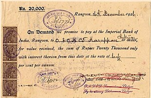 a 1926 promissory note from the imperial bank of india rangoon burma for 20000 rupees plus interest