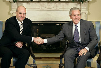 Fredrik Reinfeldt - Reinfeldt with U.S. President George W. Bush at the White House.