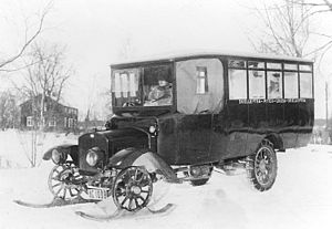 Motor bus - An early Swedish motor bus with front wheel skis for winter operations, 1920.