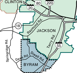 Map showing newly incorporated area of Byram