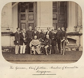 Singapore in the Straits Settlements - The Governor, Chief Justice, Members of Council and company of the Straits Settlements in Singapore, circa 1860-1900.