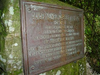 Álvar Núñez Cabeza de Vaca - A plaque commemorating Cabeza de Vaca as the first European to see the Iguazu Falls