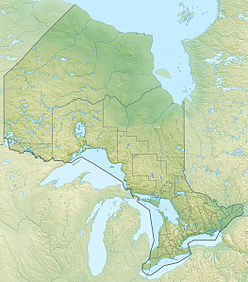 Map showing location of the canyon in Ontario