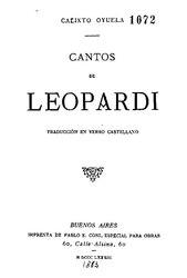 Calixto Oyuela: Cantos de Leopardi