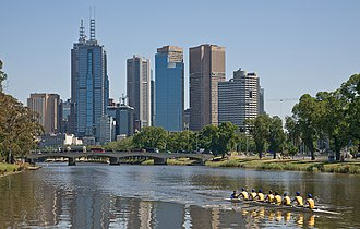Carey Baptist Grammar School - Carey Rowing crew training on the Yarra River in Melbourne