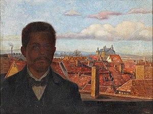 Carl Geist - Self-portrait with Veduta of Offenbach (1906)
