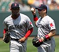 Carl Crawford and Marco Scutaro on July 20, 2011.jpg