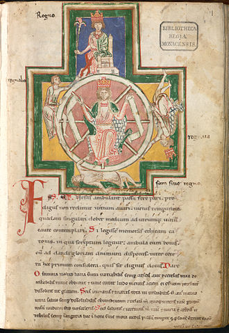 Wheel of Fortune (Tarot card) - The Wheel of Fortune was a common allegorical symbol in European iconography.  The four figures shown either climb, are at the summit, or fall, or at the bottom of a revolving wheel presided over by personified Fortuna.