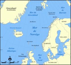 Carte de la mer de Norvège.