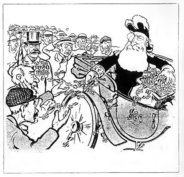 File:Cartoon depicting king Leopold 2 of the Belgians who is throwing medals to crowd.jpg