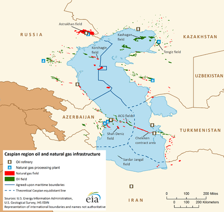 Caspian region oil and natural gas infrastructure. August 2013. - Caspian Sea