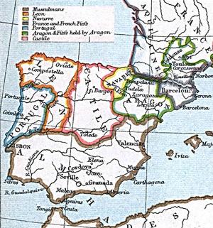 Les royaumes chrétiens face à l'empire almohade en 1210, période d'al-Andalus dite de la conquête almohade.