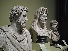 Busts of Marcus' adoptive father Antoninus, Marcus, and Clodius Albinus, a claimant to the Roman throne