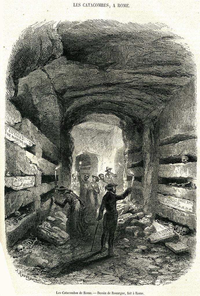 Catacombes de Rome sur une gravure de 1860.