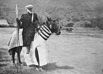 Baggara - Arab horseman photographed by French Colonials, at Dékakiré, Chad. c.1910s. From L'Afrique Équatoriale Française: le pays, les habitants, la colonisation, les pouvoirs publics. Préf. de M. Merlin. (published 1918).