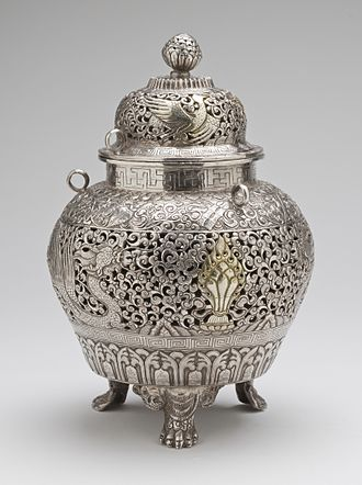 Censer - Censer from Tibet, late 19th century, silver