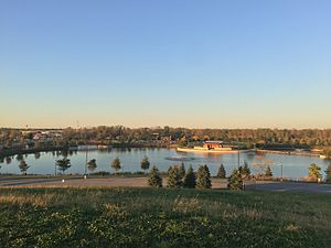 Munster, Indiana - View of the Centennial Park lake and amphitheater, opened in 2007.