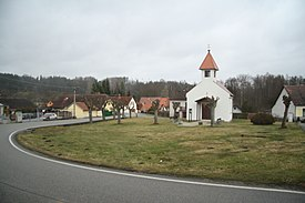 Center with chapel of Holy Trinity in Libež, Benešov District.jpg