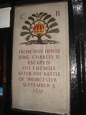 Escape of Charles II - Placard in Worcester, photographed by Ivan Lissitsyn (February 2007).