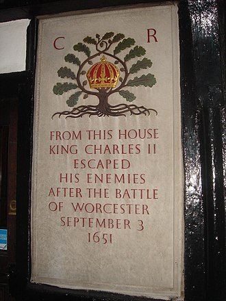 Escape of Charles II - Plaque outside King Charles House pub, New Street, in Worcester