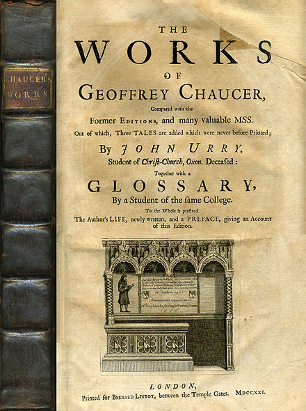 Spine and Titlepage of the 1721 John Urry edition of Chaucer's complete works Chaucer1721.jpg