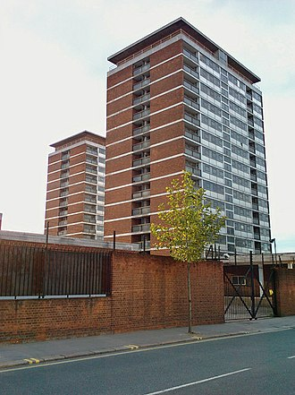 Chelsea Barracks - The 1960s tower blocks at Chelsea Barracks just before demolition in 2008
