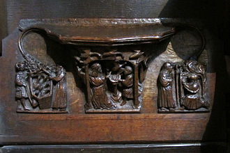 Werburgh - Miracles of St Werburgh, including the resurrection of the goose, depicted on a misericord at Chester Cathedral