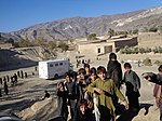 Childre gathered at MHUs camp in Hamza Khel Mohmand Agency dated 12 April 2013 (13143281883).jpg