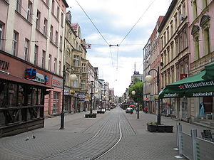Chorzów - Ulica Wolności - Freedom Street, one of the main areas of commerce in the city