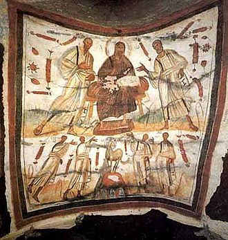 Marcellinus and Peter - Wall painting (4th century) from the catacomb of Marcellinus and Peter on the Via Labicana, showing Christ between Peter and Paul, and below them the martyrs Gorgonius, Peter, Marcellinus, and Tiburtius